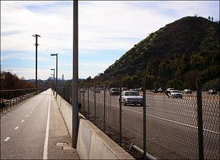 Bike path and freeway, Los Angeles
