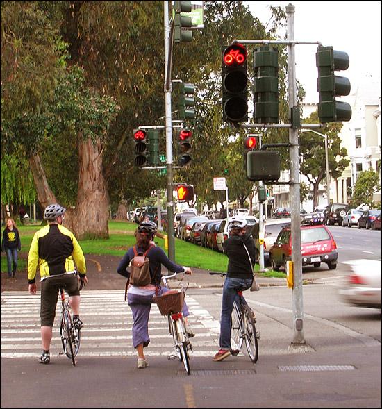Bicycle traffic signal in Panhandle Park, San Francisco