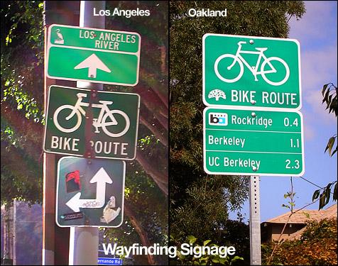 Wayfinding signs, LA vs. Oakland