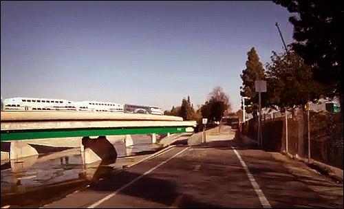 Metrolink Viaduct and El Monte Busway cross over the Rio Hondo bike path