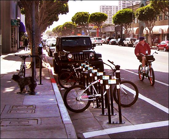 Bike corral on Santa Monica's Main Street