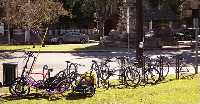 Bikes at South Pasadena Gold LIne station
