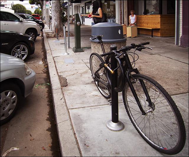 Photo of last meter hitch conversion bike rack on Larchmont