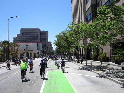 Spring Street bike lane in DTLA